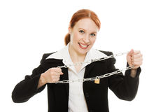 Businesswoman tearing the chain hands Stock Image
