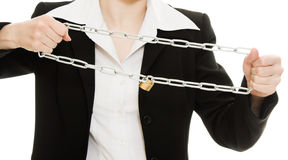 Businesswoman tearing the chain hands Royalty Free Stock Images