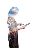 Businesswoman and technology Stock Photos