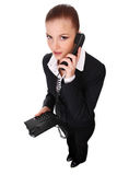Businesswoman with telephone Stock Images