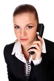 Businesswoman with telephone Royalty Free Stock Photography