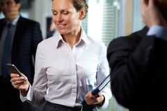 Businesswoman with telephone Stock Photo