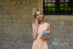 Businesswoman at telephone call Royalty Free Stock Image