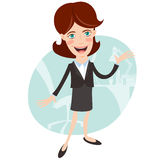 Businesswoman telling and showing something. Flat style Stock Image