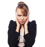 Businesswoman terrified hold hand on head Royalty Free Stock Images