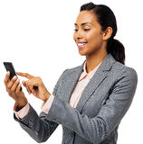 Businesswoman Text Messaging On Smart Phone Stock Photography
