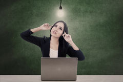 Businesswoman think bright idea Royalty Free Stock Photography
