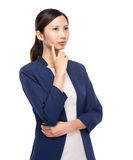 Businesswoman think of idea Stock Photo
