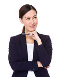 Businesswoman think of idea Royalty Free Stock Images