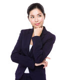Businesswoman think of something Stock Photography