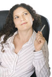 Businesswoman thinking. Holding a pen Stock Photos