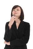 Businesswoman thinking. Isolated on a white background Stock Photo