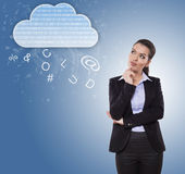 Businesswoman thinking about cloud offerings. Business using cloud offer, businesswoman thinking about cloud services Stock Photo