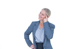 Businesswoman thinking with finger on head Royalty Free Stock Photo