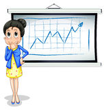 A businesswoman thinking in front of whiteboard Royalty Free Stock Photography
