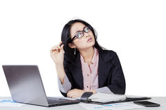 Businesswoman thinking her dreams Stock Photography