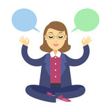 Businesswoman thinking during meditation. Woman doing yoga Royalty Free Stock Photography