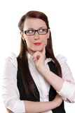Businesswoman thinking about new concept Stock Photography