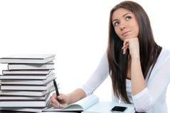 Businesswoman thinking ot the workplace Stock Photo