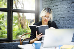 Businesswoman Thinking Planning Strategy Working Laptop Concept Royalty Free Stock Photos