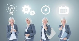 Businesswoman thinking in sequence with ideas and brainstorm process icons stock images