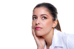 Businesswoman thinking about something stock photos
