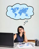 Businesswoman thinking on travel Stock Images