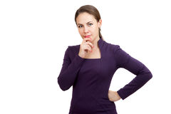 A businesswoman is thinking. On white background Stock Photos