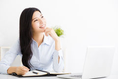Businesswoman thinking while working on computer Royalty Free Stock Photo