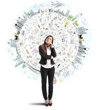 Businesswoman thinks business world stock photo