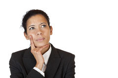 Businesswoman thinks contemplative on problem Stock Photo