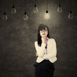 Businesswoman thinks solution Royalty Free Stock Image