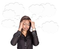 Businesswoman with thoughts bubble surrounding he Royalty Free Stock Photography