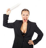 Businesswoman threatens with a newspaper Stock Photography