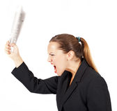 Businesswoman threatens with a newspaper Stock Photo