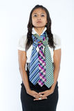 Businesswoman with three multi colored neckties. Royalty Free Stock Image