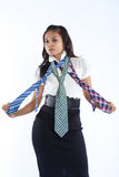 Businesswoman with three multi colored neckties. Royalty Free Stock Photography