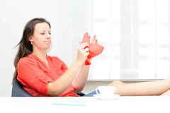 Businesswoman throwing her business plan Stock Images