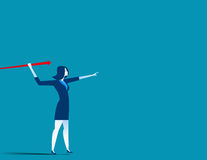Businesswoman throwing the javelin. Concept business illustratio Stock Photography