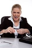 Businesswoman Throwing A Tantrum. Holding her credit card in her hands, seated at desk Stock Photos