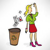 Businesswoman throws documents Stock Images