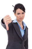 Businesswoman with thumb down Royalty Free Stock Photos