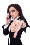 Businesswoman with thumb down gesture Royalty Free Stock Photos