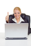 Businesswoman thumb up Royalty Free Stock Photos