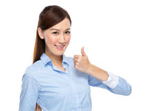 Businesswoman thumb up Stock Images