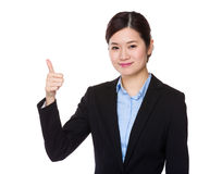 Businesswoman with thumb up Stock Photos