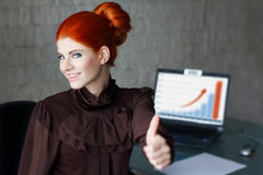 Businesswoman thumb up Stock Photography