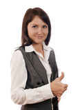 Businesswoman with thumb up sign Royalty Free Stock Images