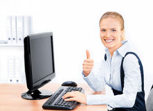 Businesswoman with thumbs up. Stock Photography