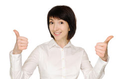 Businesswoman with thumbs up Stock Images